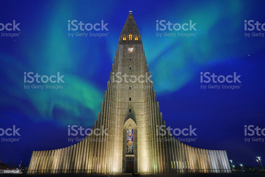 Hallgrimskirkja with Northern Light stock photo