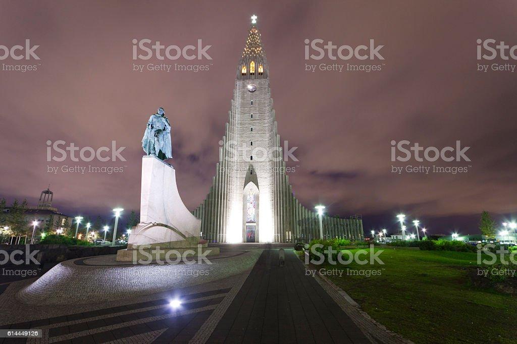 Hallgrímskirkja church at night stock photo