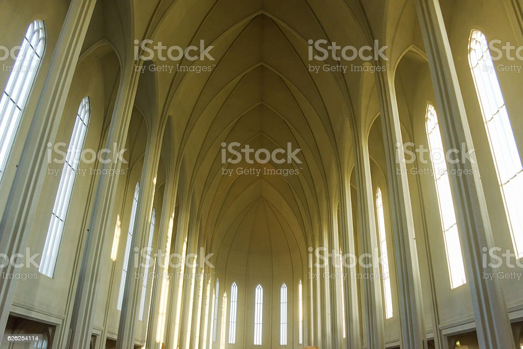 Hallgrímskirkja church in iceland stock photo
