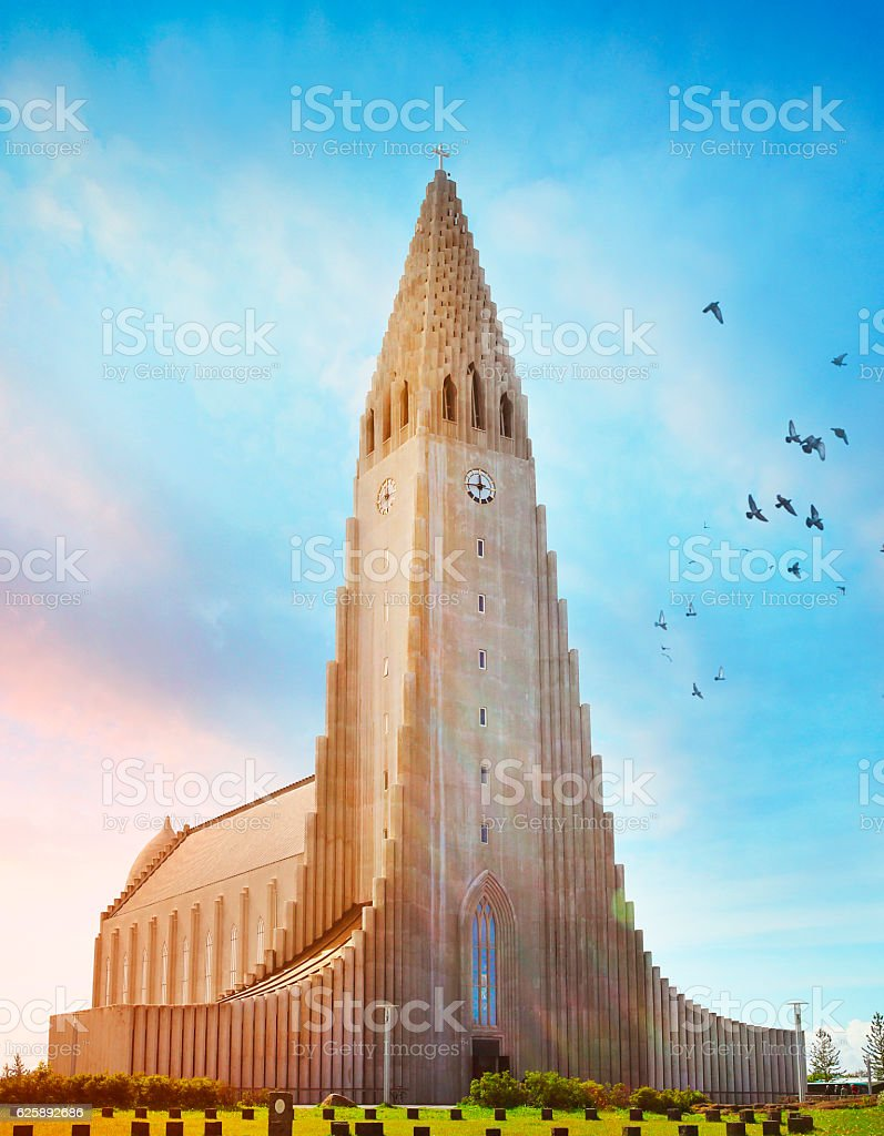 Hallgrímskirkja church in Reykjavík stock photo
