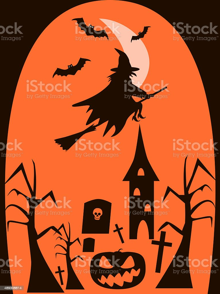 Halloween background of witch flying on broomstick in the night stock photo