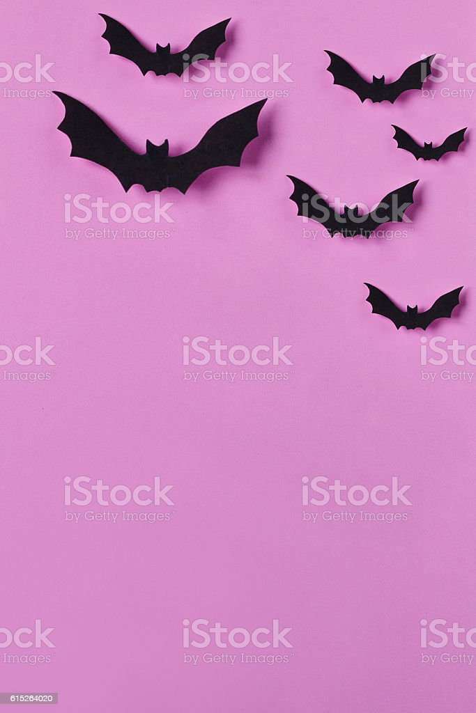Halloween background. Papercut bats flying. Top view with copy space stock photo