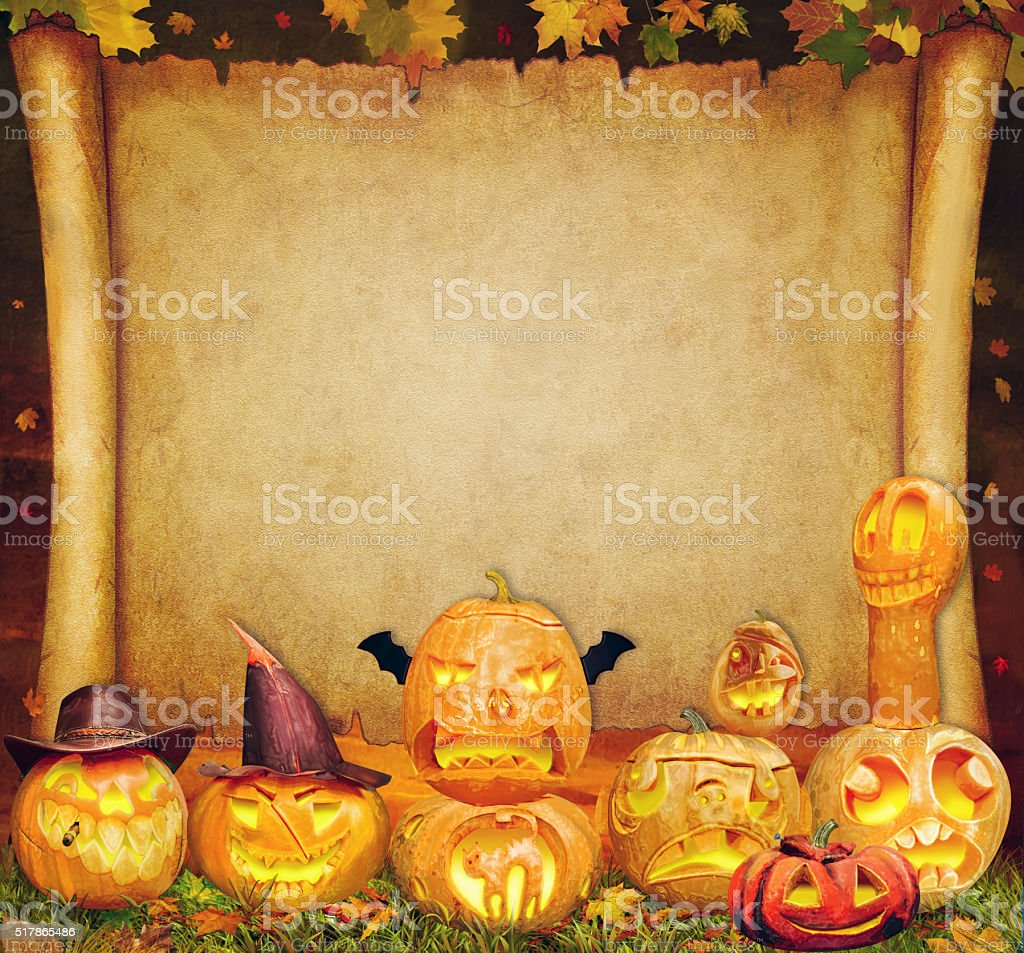 Halloween background scroll sign with  carved orange pumpkins stock photo