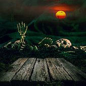 Halloween background. Skull and skeleton with full moon and wood