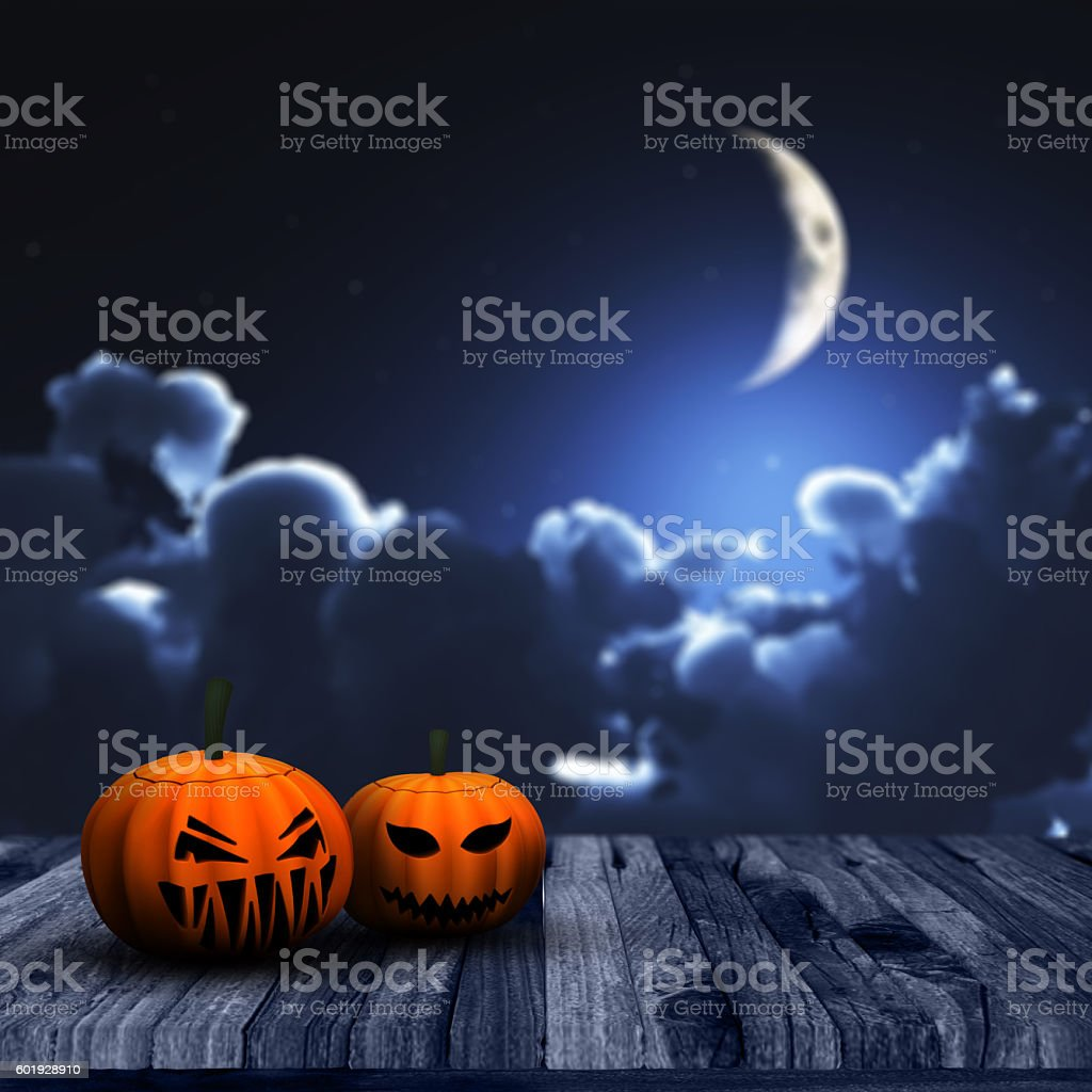 3D Halloween background with pumpkins and night sky stock photo