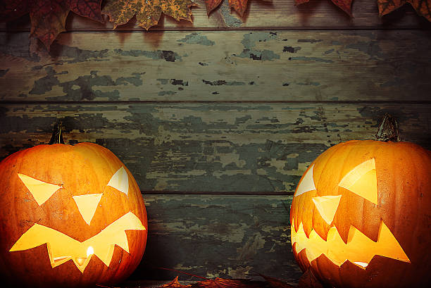 Halloween Background With Pumpkins On Rustic Wooden Stock Photo