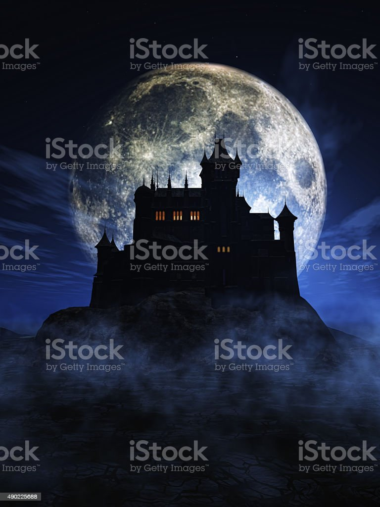3D Halloween background with spooky castle stock photo