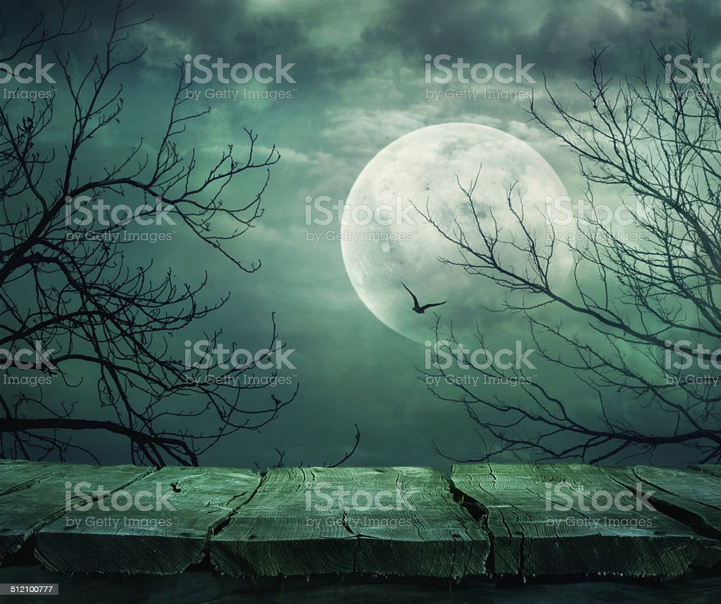 Halloween background with table stock photo