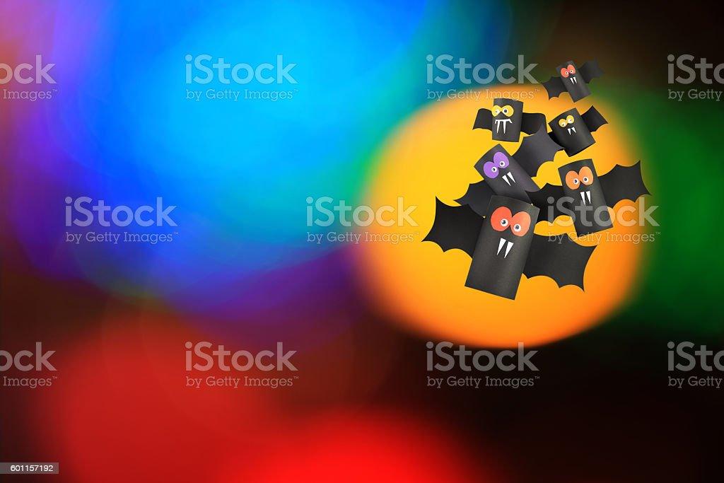 Halloween bat family ,Paper crafts . stock photo