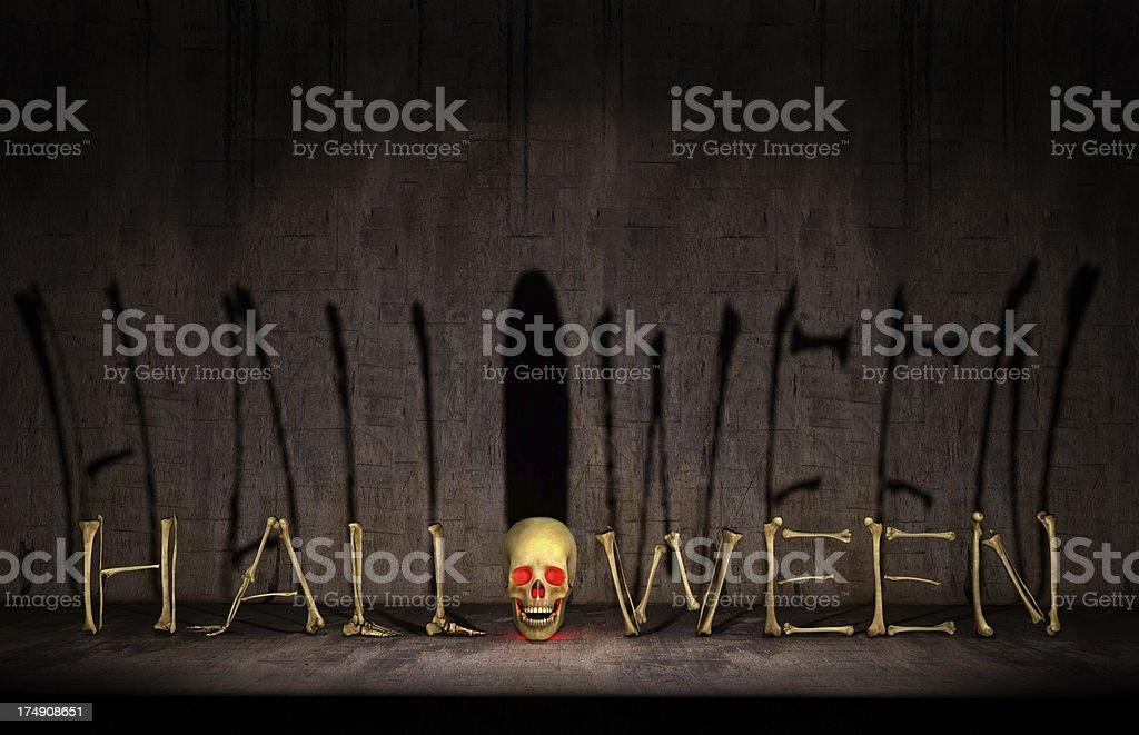 Halloween Bones, Shadow on Dirty Dark Background, with a Skull stock photo