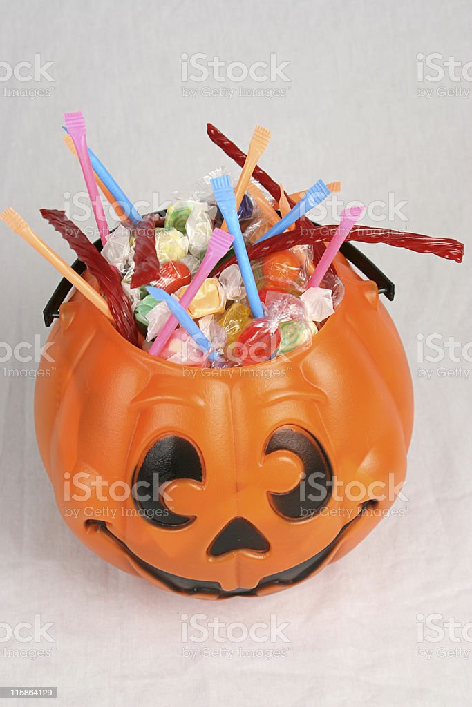 Halloween Bucket of Candy Vertical royalty-free stock photo