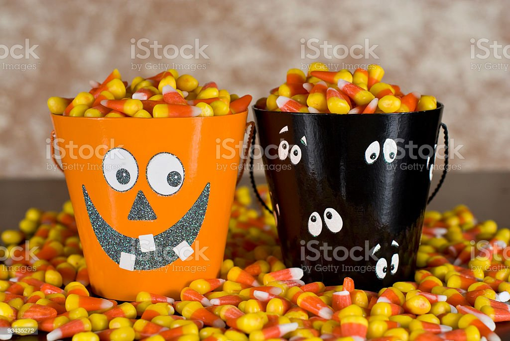Halloween Buckets with Candy Corn royalty-free stock photo