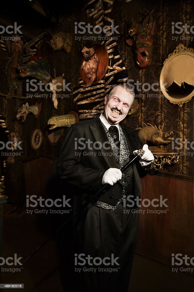 Halloween Butler with Pale Face stock photo