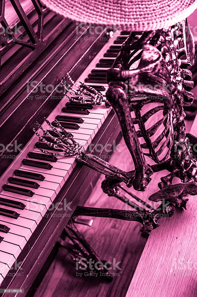 Halloween BW Skeleton Musician Playing Spooky Piano Music stock photo