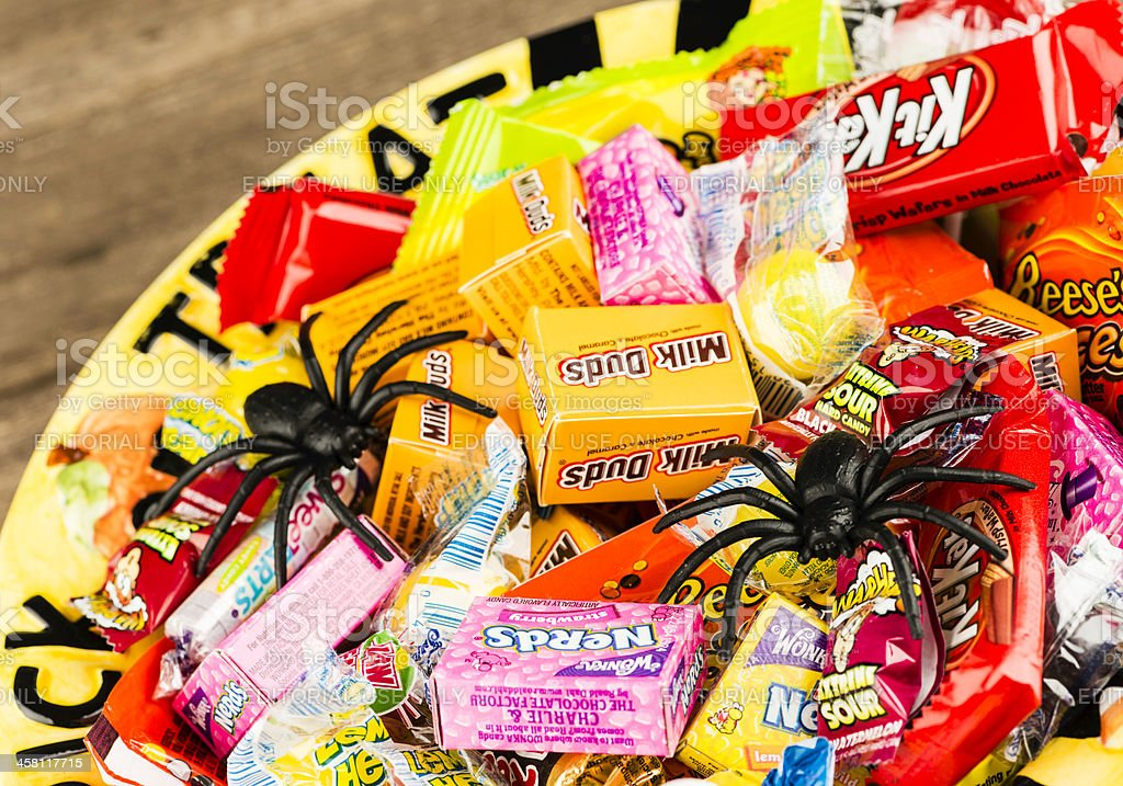 Halloween Candies in Trick or Treat Bowl royalty-free stock photo