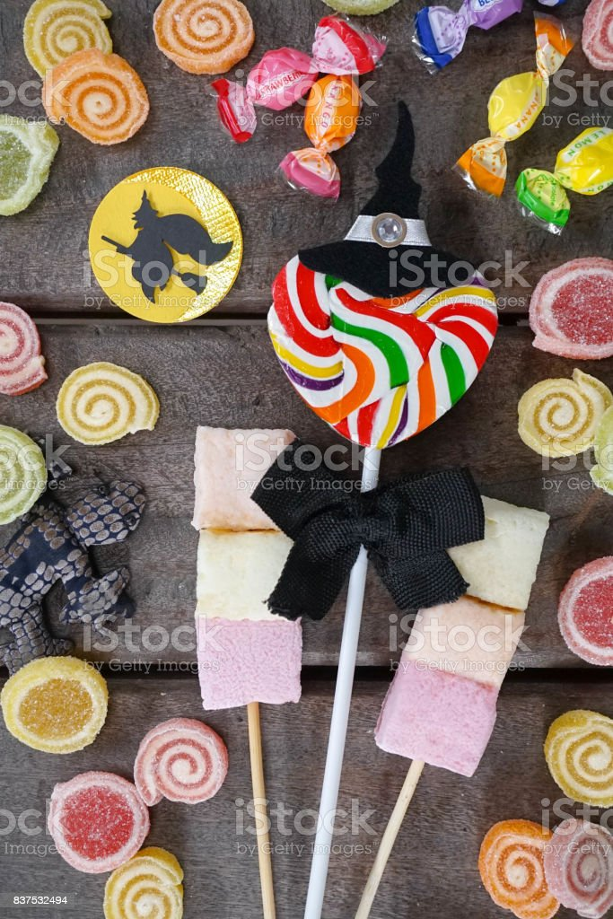 Halloween candies, trick or treating concept stock photo