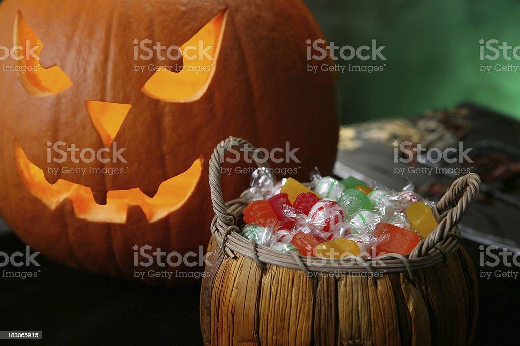 halloween candy basket stock photo