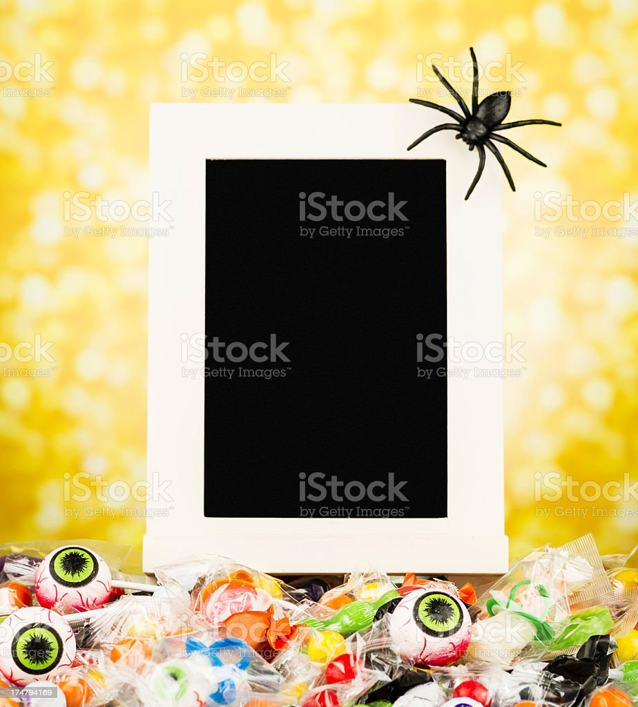 Halloween Candy with Blackboard royalty-free stock photo