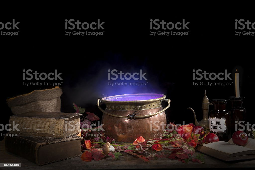 halloween cauldron stock photo