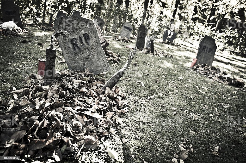 Halloween Cemetery with Zombie Raising Dead royalty-free stock photo