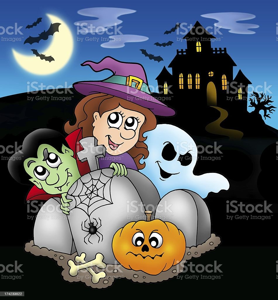 Halloween characters before mansion stock photo