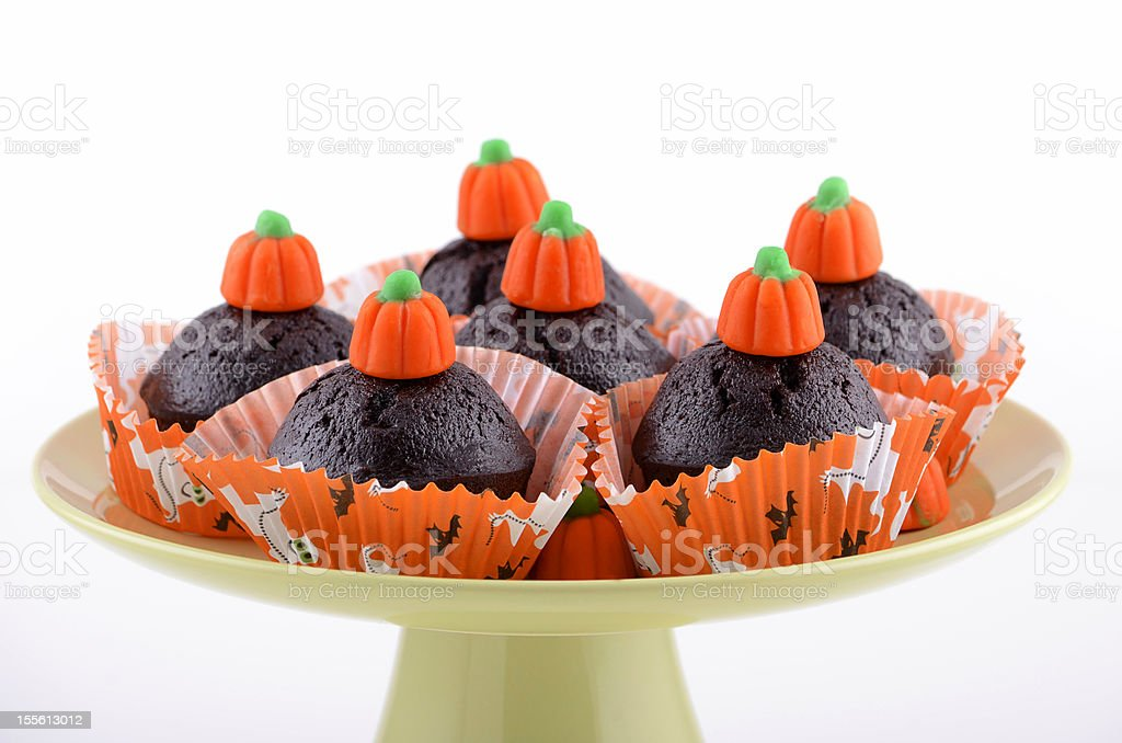 Halloween chocolate cupcakes royalty-free stock photo