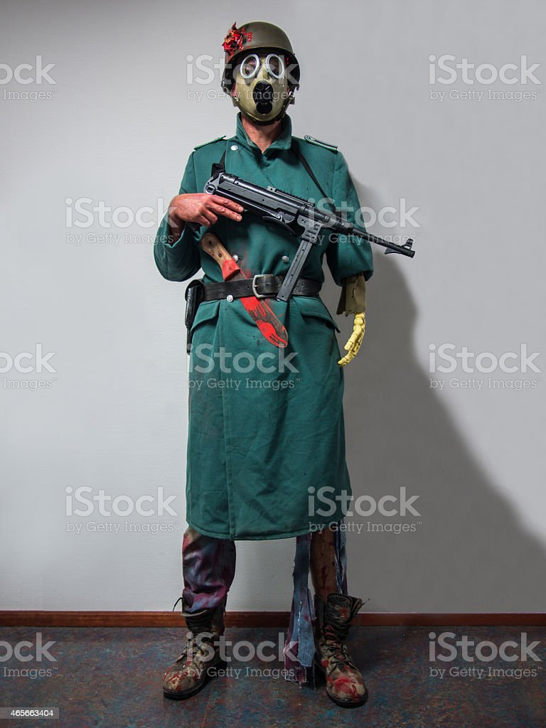Halloween costume of a zombie soldier stock photo