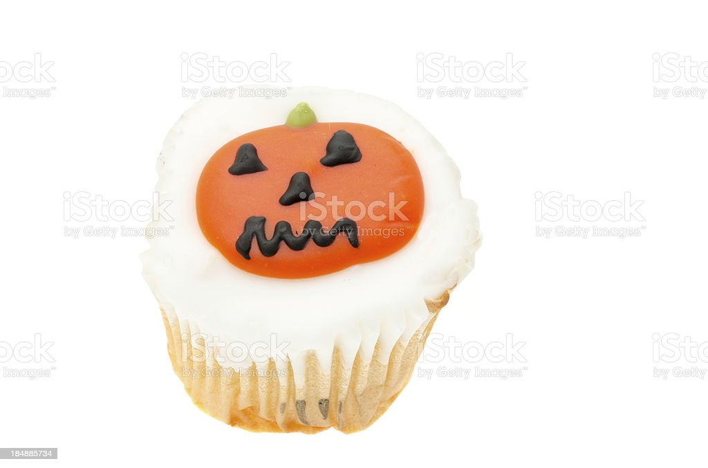 Halloween cupcake and pumpkin icing royalty-free stock photo
