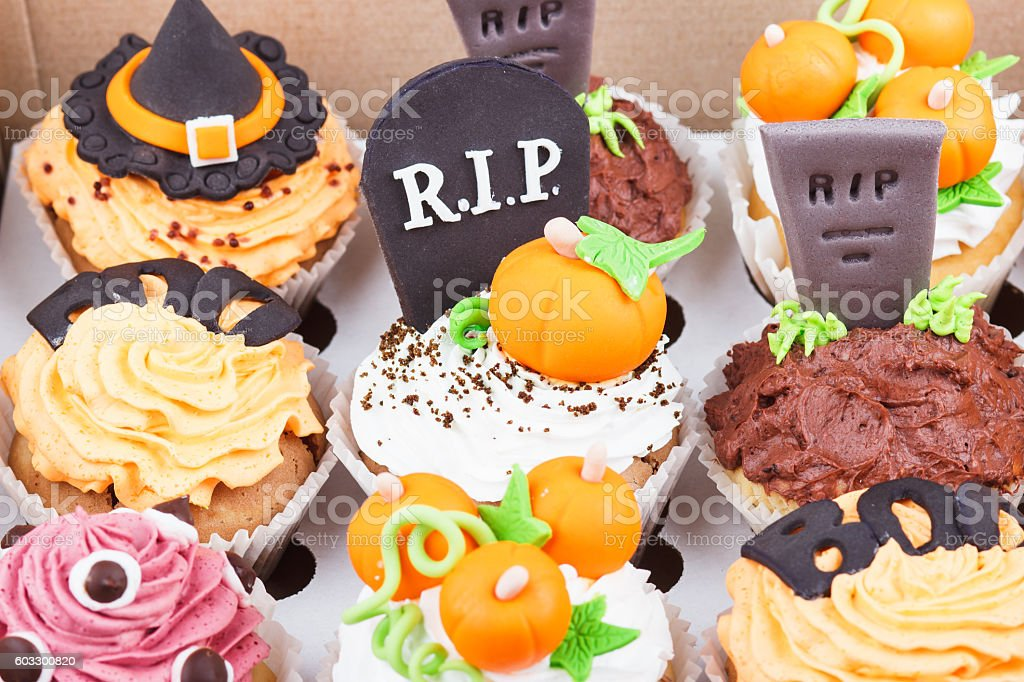 Halloween cupcakes in the paper box stock photo