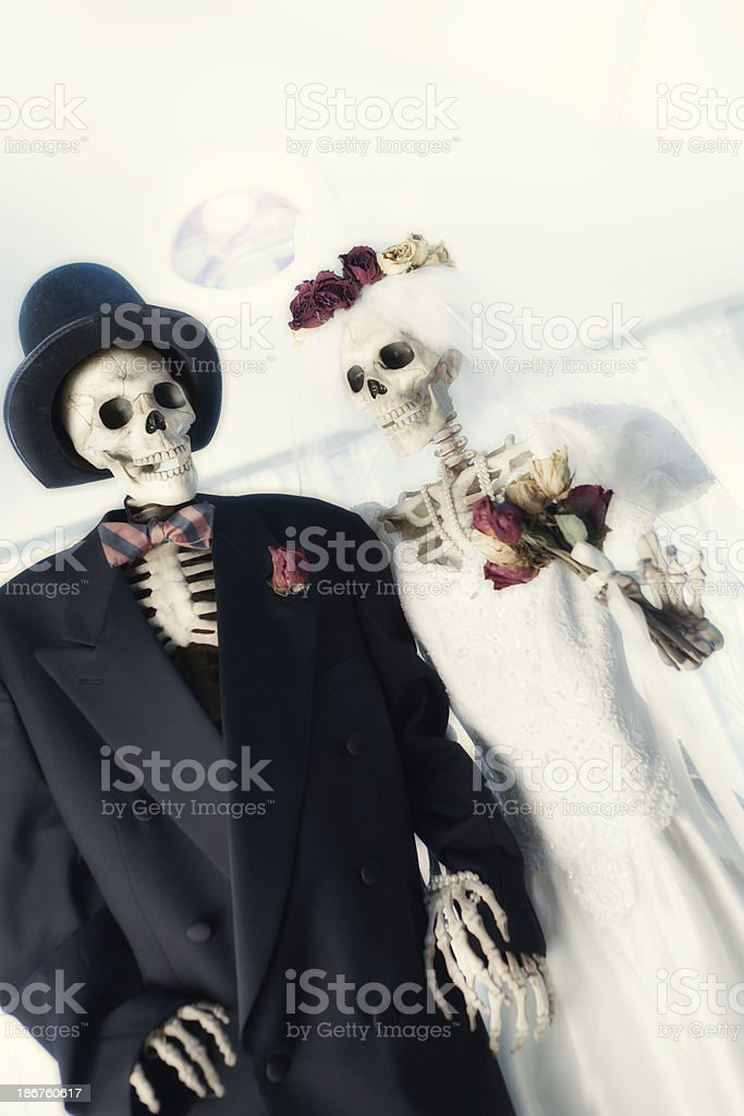 Halloween Day of the Dead Wedding Couple in Church royalty-free stock photo