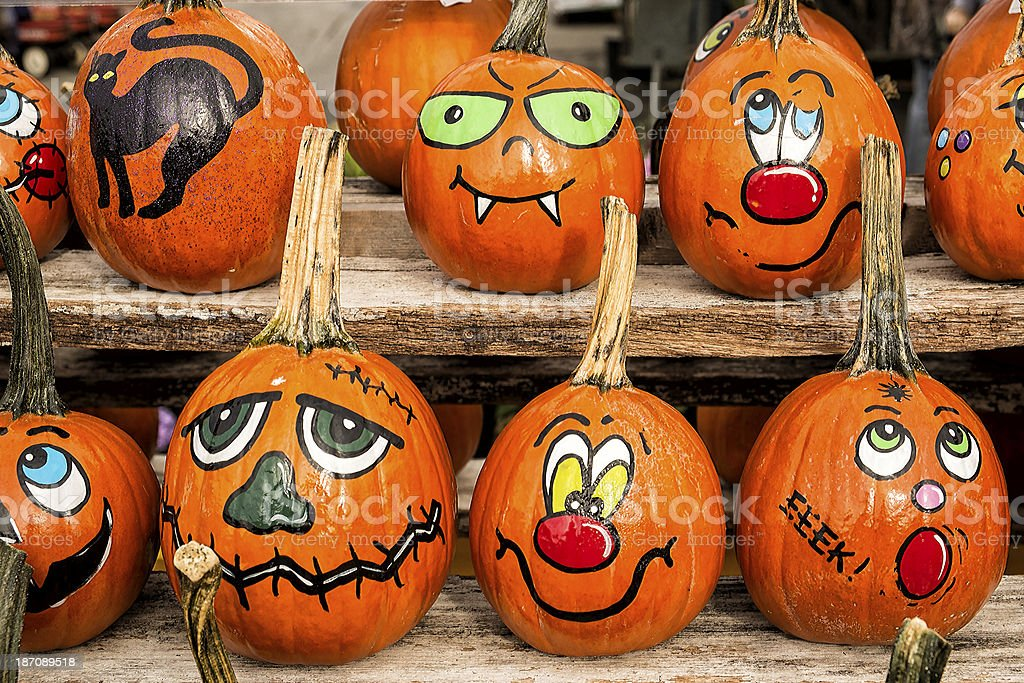 Halloween Decorated Pumpkins stock photo