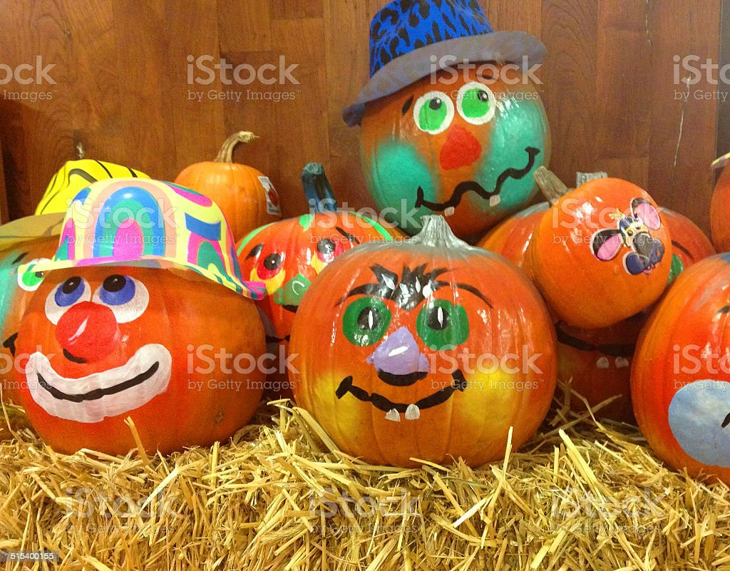 Halloween Decorated Pumpkins stock photo