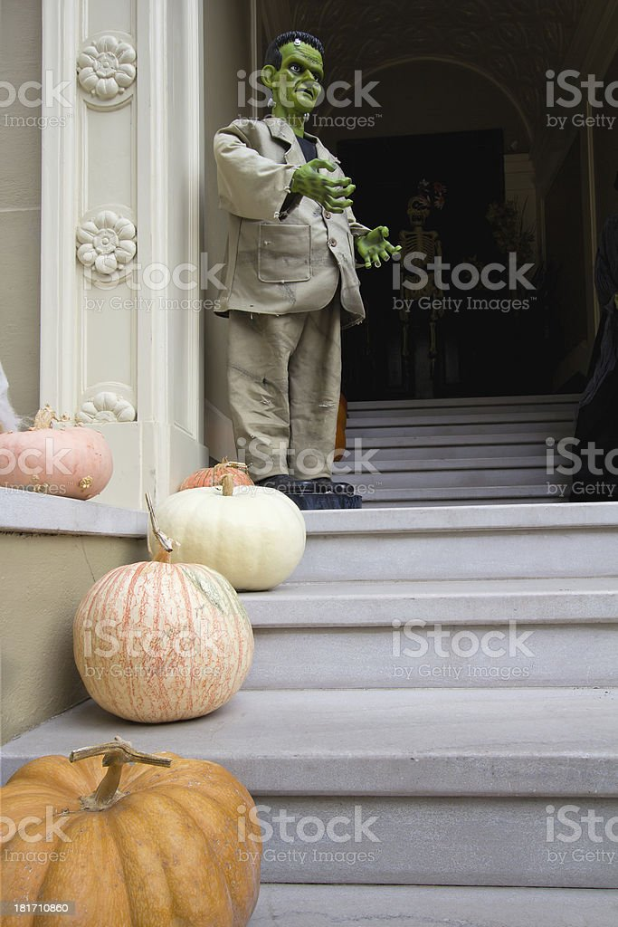 Halloween Decoration in Front of House stock photo