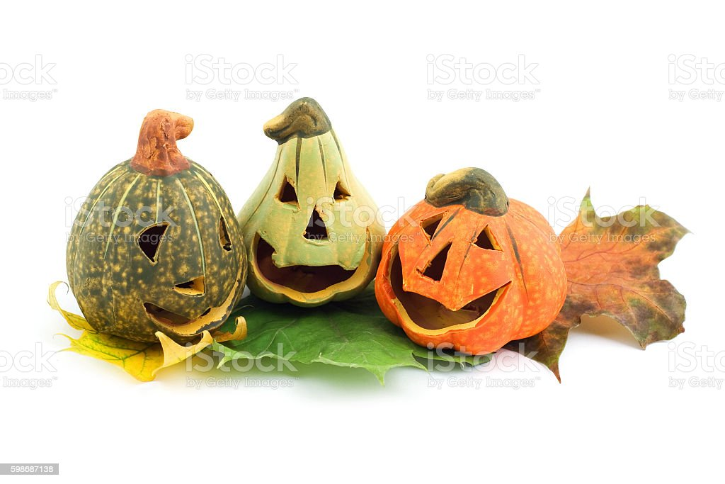 Halloween decorative pumpkins, white background. stock photo