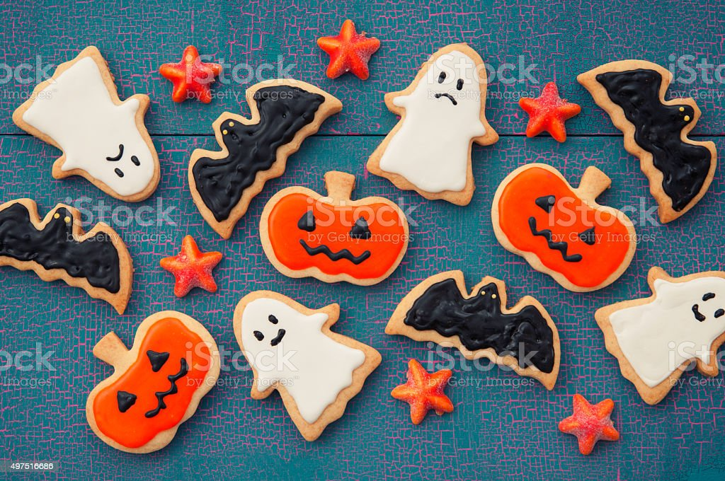Halloween design which is decorated with a handmade cookie stock photo