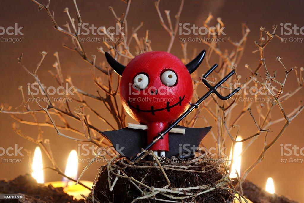 Halloween Devil Doll. stock photo