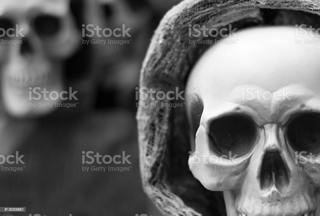 Halloween Display: Spooky Skulls (Close-Up), B&W stock photo