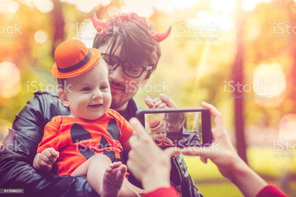 Halloween family stock photo