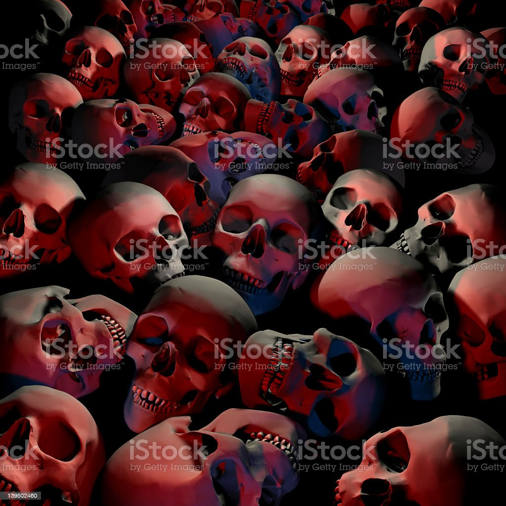 Halloween, Field of skulls, Graveyards, Genocide, Massacre. stock photo