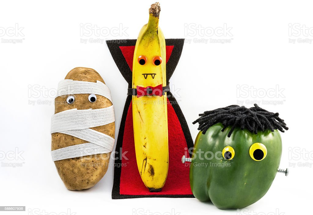 Halloween food monsters stock photo