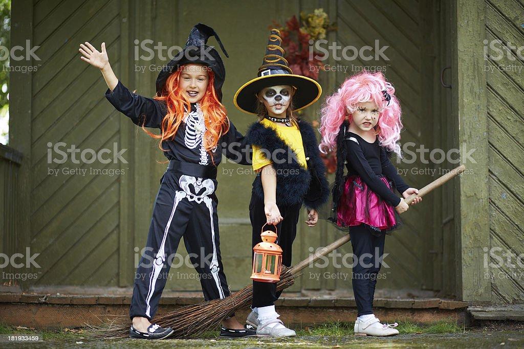 Halloween girls on broom stock photo