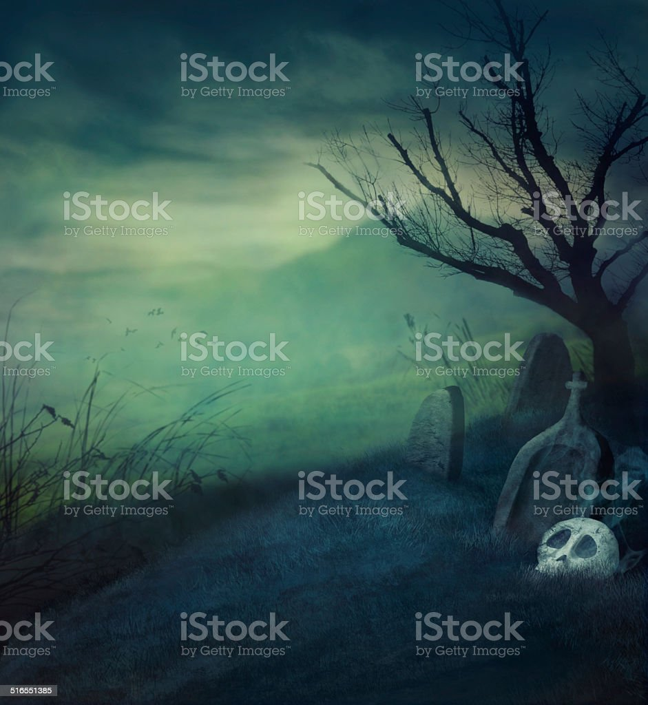 Halloween graveyard stock photo