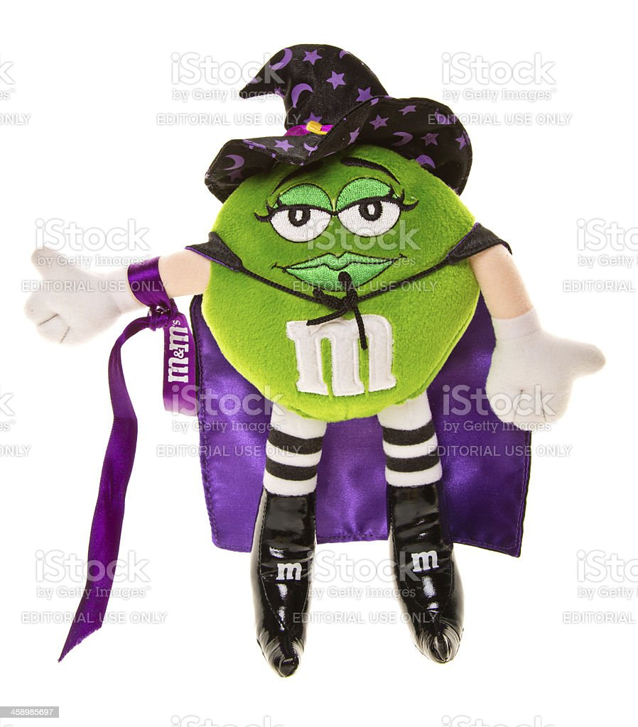 Halloween Green and Purple M&M Candy Doll with Witch Hat stock photo