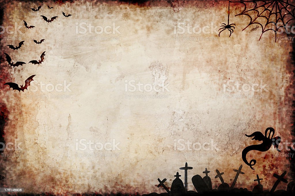 Halloween Grungy  Background with Black Ornament royalty-free stock photo