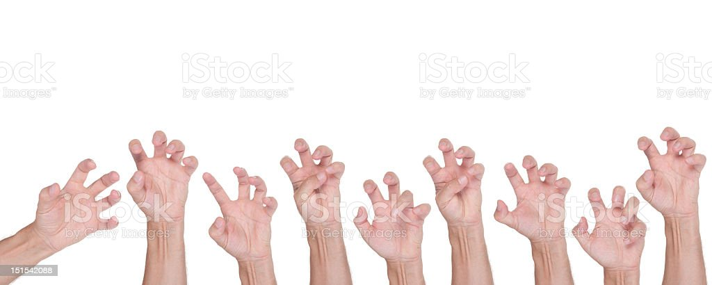 Halloween hand gesture set, isolated on white royalty-free stock photo