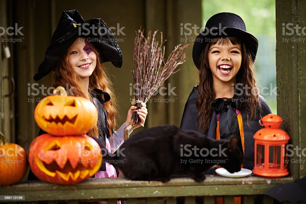 Halloween heroines and black cat stock photo