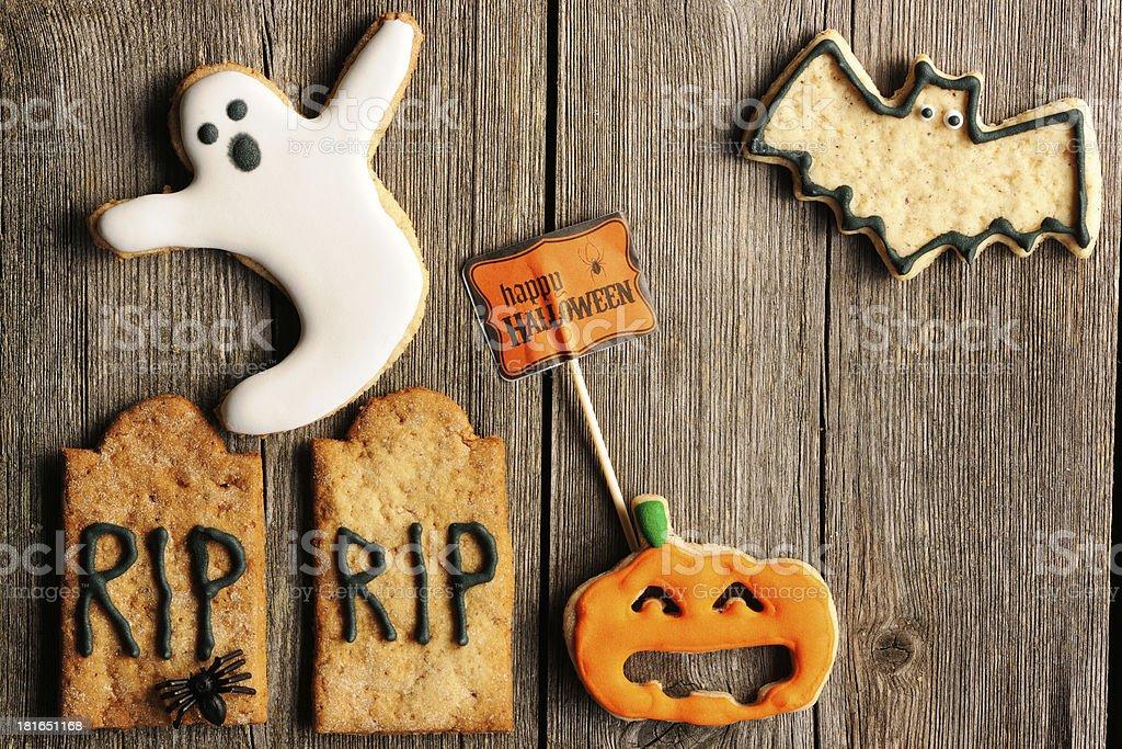 Halloween homemade gingerbread cookies royalty-free stock photo