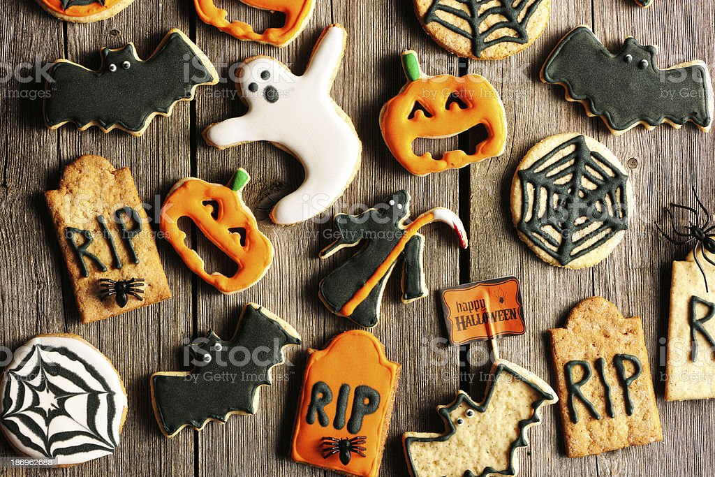 Halloween homemade gingerbread cookies royalty-free stock photo