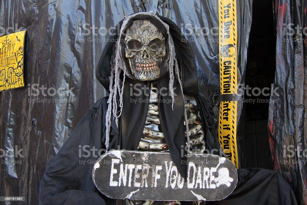 Halloween hostess of death stock photo