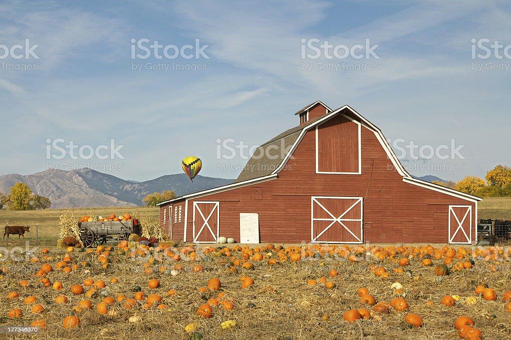 Halloween Hot Air Balloon over Barn stock photo